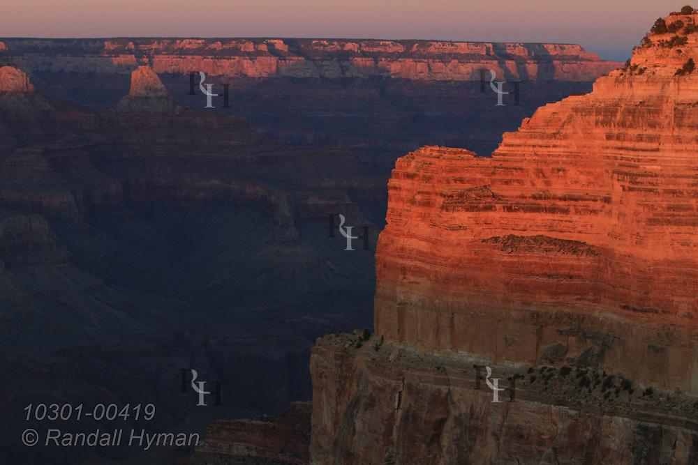 Kaibab limestone glows in sunset at Mohave Point overlook on the South Rim of Grand Canyon National Park, Arizona.
