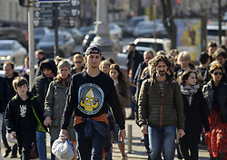 March 30, 2019 - Kiev, Ukraine - People seen walking down the street a day before presidential elections in Kiev..Presidential elections in Ukraine will be held on March 31, 2019. (Credit Image: © Sergei Chuzavkov/SOPA Images via ZUMA Wire)