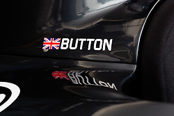 © Licensed to London News Pictures. 01/07/2015. London, UK. Button car detail on the virtual reality car seen as Jenson Button attends the launch of a virtual reality race experience at Canary Wharf in London today. Fans will be able to enjoy a 360 degree race experience using virtual reality technology. Photo credit : Vickie Flores/LNP
