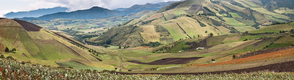 A checkerboard of farmland lines the driving loop around Lago Quilotoa in the highlands of Ecuador, South America. Panorama was stitched from 3 overlapping photos.