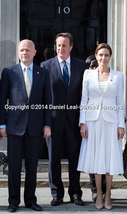 Image ©Licensed to i-Images Picture Agency. 10/06/2014. London, United Kingdom. David Cameron meets with William Hague and Angelina Jolie. The Prime Minister David Cameron meets with William Hague (L) and Angelina Jolie (R) today for the Global Summit to End  Sexual Violence in Conflict at 10 Downing Street. Picture by Daniel Leal-Olivas / i-Images
