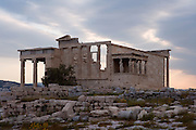ATHENS, GREECE - APRIL 17 : A general view of the Erechtheum at dawn, on April 17, 2007, in Athens, Greece. The Erechtheum was built on the Acropolis, between 421 and 405 BC, in the Ionic Order. The plan is unusual with West facade having only 4 columns, being overlapped by the North porch. The famous Caryatid porch, with 6 sculptures of maidens replacing the columns, faces South towards the Parthenon. (Photo by Manuel Cohen)