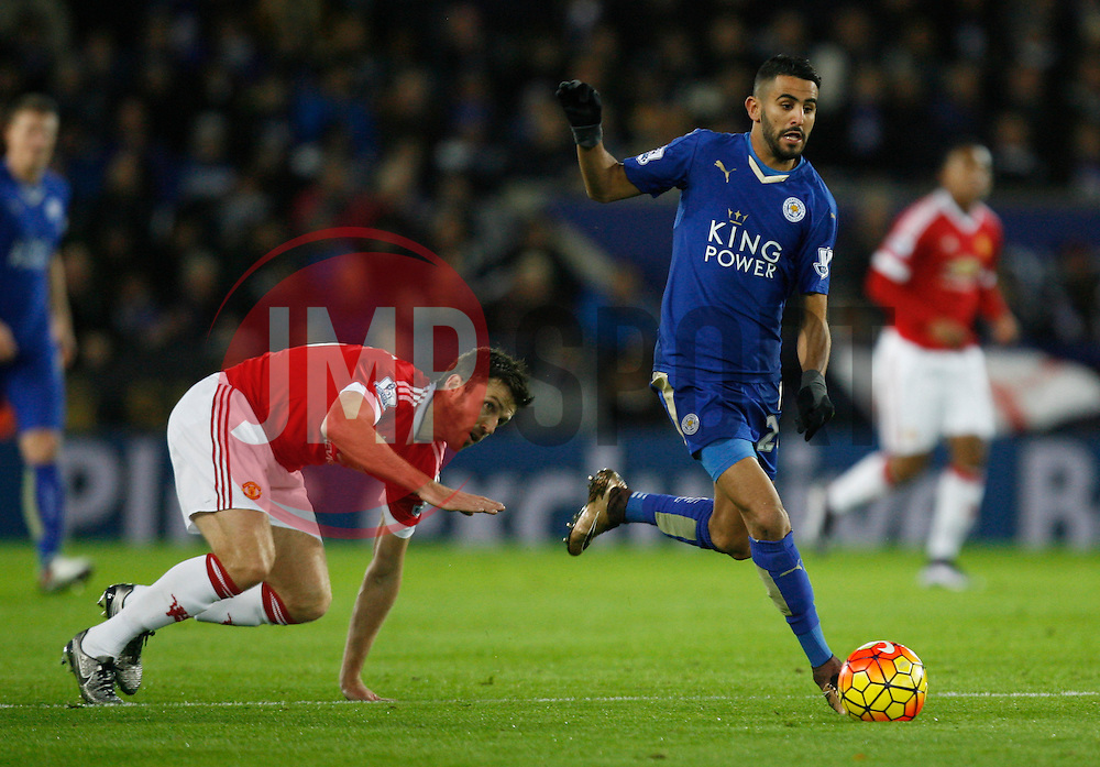 Michael Carrick of Manchester United (L) and Riyad Mahrez of Leicester City in action  - Mandatory byline: Jack Phillips/JMP - 07966386802 - 28/11/2015 - SPORT - FOOTBALL - Leicester - King Power Stadium - Leicester City v Manchester United - Barclays Premier League
