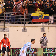 Angel Di MarIa, Argentina, takes a short corner during the Argentina Vs Ecuador International friendly football match at MetLife Stadium, New Jersey. USA. 31st march 2015. Photo Tim Clayton