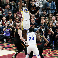 CLEVELAND, OH - JUN 3: Jordan Bell #2 of the Golden State Warriors goes for the dunk in Game Three of the 2018 NBA Finals won 110-102 by the Golden State Warriors over the Cleveland Cavaliers at the Quicken Loans Arena on June 6, 2018 in Cleveland, Ohio. NOTE TO USER: User expressly acknowledges and agrees that, by downloading and or using this photograph, User is consenting to the terms and conditions of the Getty Images License Agreement. Mandatory Copyright Notice: Copyright 2018 NBAE (Photo by Chris Elise/NBAE via Getty Images)