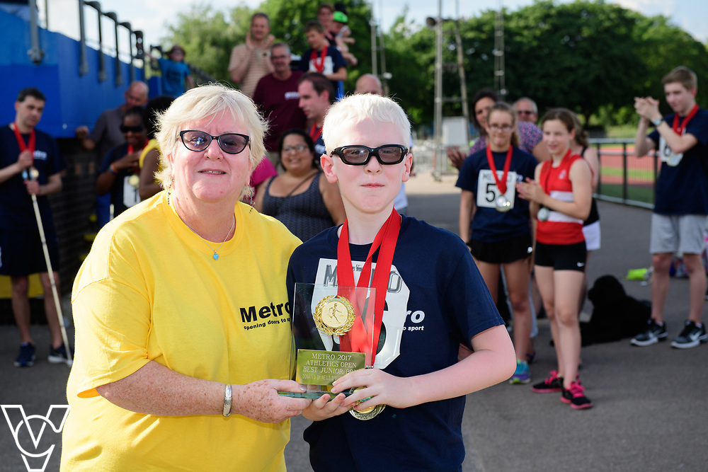 Metro Blind Sport's 2017 Athletics Open held at Mile End Stadium.  Medal presentations. Eoin Quigley<br /> <br /> Picture: Chris Vaughan Photography for Metro Blind Sport<br /> Date: June 17, 2017