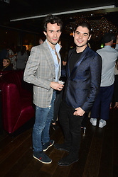 Left to right, MARK-FRANCIS VANDELLI and ROBERT CAVALLI son of Roberto Cavalli at a party hosted by Christian Lacroix partnered with Supa Model Management to celebrate London Men's Collections January 2015, held at the Rumpus Room, the roof top bar at the top of the Mondrian London, 20 Upper Ground, London SE1 on 12th January 2015.