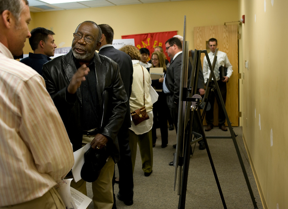 George Moses shares his feelings about the Mellon Arena with preservationist at a Open House on Mellon Arena development options at Ebenezer Baptist Church in the Hill District. Moses grew up in the Hill District.