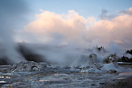 Grotto Geyser in Upper Geyser Basin at Sunset, Yellowstone National Park, Wyoming