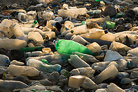 Single use plastic bottles polluting a beach in Negombo, Sri Lanka