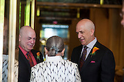 Photo by Matt Roth<br /> Assignment ID: 30148071A<br /> <br /> David Hagedorn, left, and Michael Widomski, say goodbye to Justice Ruth Bader Ginsburg after she served as officiant for the couple at Fiola Restaurant in Washington, DC, Sunday, September 22, 2013. Their wedding was the Supreme Court Justice's second since the Supreme Court overturned DOMA.