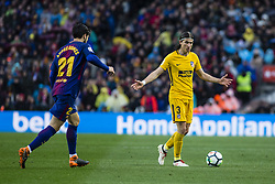 March 4, 2018 - Barcelona, Catalonia, Spain - 03 Filipe Luis from Brazil of Atletico de Madrid defended by 21 Andre Gomes from Portugal of FC Barcelona during La Liga match between FC Barcelona v Atletico de Madrid at Camp Nou Stadium in Barcelona on 04 of March, 2018. (Credit Image: © Xavier Bonilla/NurPhoto via ZUMA Press)