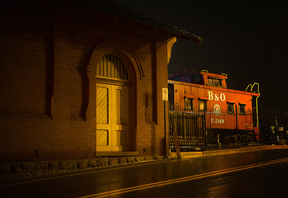 The Historic Baltimore & Ohio Railroad Museum in Ellicott city at night.