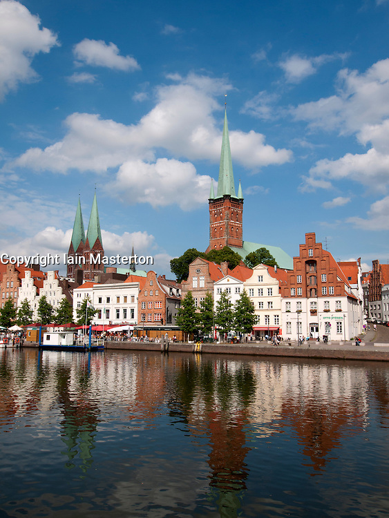 View of church spires in historic city of Lubeck in Germany