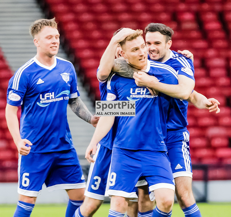 Peterhead's Rory McAllister is mobbed by his team mates after scoring from the spot during the Queen's Park FC V Peterhead FC Petrofac Training Cup semi-final played at Hampden Park, Glasgow on 14th November 2015; (c) BERNIE CLARK | SportPix.org.uk