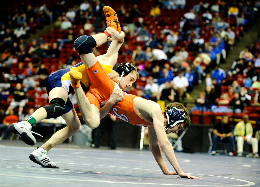 (staff photo by Matt Roth)..Perry Hall's Shaun Murphy defeated Reservoir's Josh Knox 7-3 during a 112 weight 3A/4A state wrestling championships semi-final match at the University of Maryland Cole Field House Saturday, March 6, 2010.