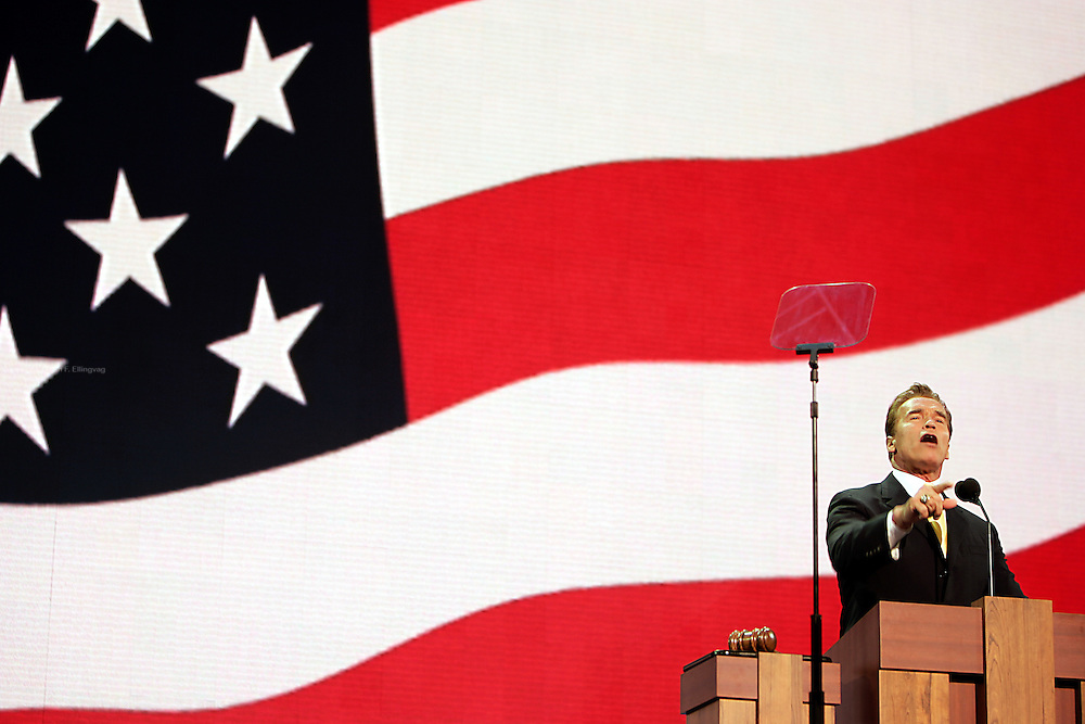 New York, NY, USA, August 31st 2004: California Governor Arnold Schwarzenegger speaking at the Republican National Convention in New York.<br /> <br />   *** Local Caption ***