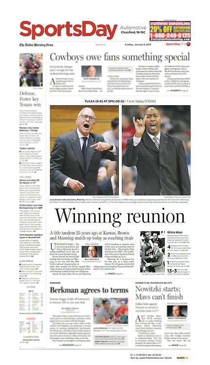 The Dallas Morning News - Sports Day, C1 II, January 6, 2013.