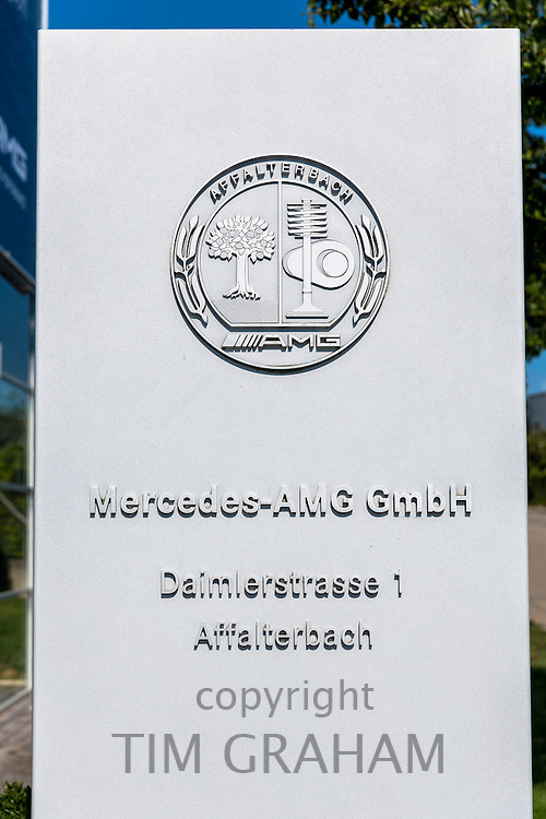Mercedes-AMG GmbH engine factory in Daimlerstrasse in Affalterbach, Bavaria, Germany - sign board