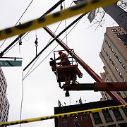December 12, 2016 - New York, NY :  New lighting is installed above ground, at East 69th and Second Ave., on Monday morning, as part of the Second Avenue  subway project. After years of delays, the new subway line is preparing to welcome its first straphangers. CREDIT: Karsten Moran for The New York Times