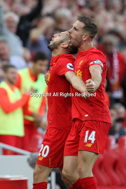 10.09.2016. Anfield, Liverpool, England. Premier League Football. Liverpool versus Leicester.Adam Lallana  of Liverpool and Jordan Henderson of Liverpool celebrate Liverpool's this goal.