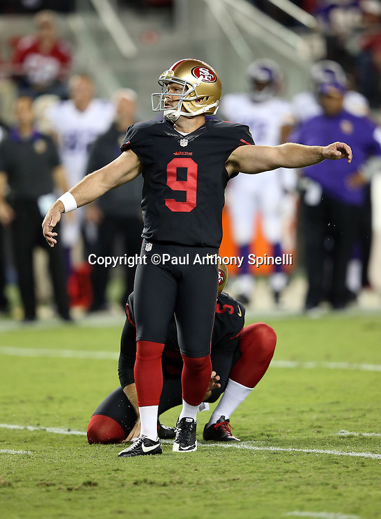 San Francisco 49ers kicker Phil Dawson (9) kicks a third quarter field goal for a 10-0 Niners lead during the 2015 NFL week 1 regular season football game against the Minnesota Vikings on Monday, Sept. 14, 2015 in Santa Clara, Calif. The 49ers won the game 20-3. (©Paul Anthony Spinelli)