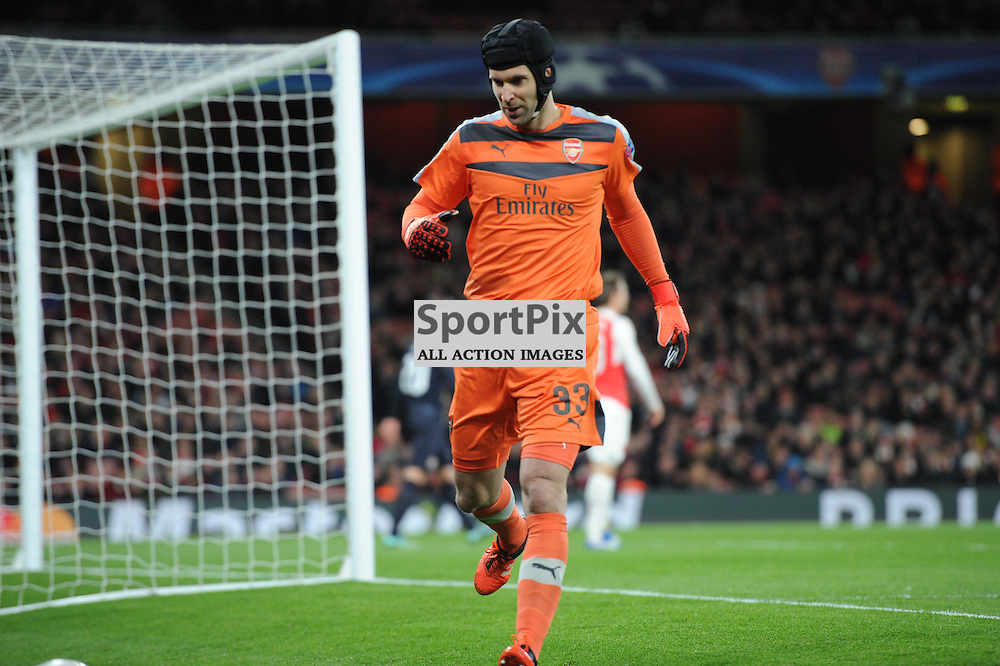 Arsenals Petr Cech in action during the Arsenal v Dinamo Zagreb game in the UEFA Champions League on the 24th November 2015 at the Emirates Stadium.