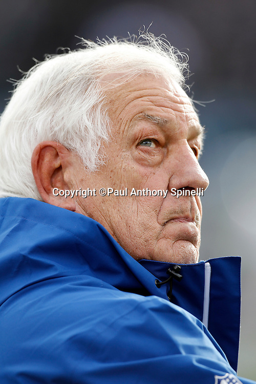 Indianapolis Colts senior offensive assistant Tom Moore looks on during the NFL week 16 football game against the Oakland Raiders on Sunday, December 26, 2010 in Oakland, California. The Colts won the game 31-26. (©Paul Anthony Spinelli)