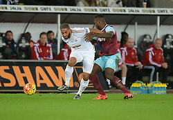 Ashley Williams of Swansea City battles for the ball with Michail Antonio of West Ham United- Mandatory byline: Alex James/JMP - 07966 386802 - 20/12/2015 - FOOTBALL - Liberty Stadium - Swansea, England - Swansea City v West Ham United - Barclays Premier League