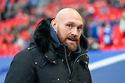 Tyson Fury appears during the International Series match between Los Angeles Rams and Cincinnati Bengals at Wembley Stadium, London, England on 27 October 2019.