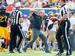 Sep 10, 2016; Morgantown, WV, USA; West Virginia Mountaineers head coach Dana Holgorsen reacts after a penalty during the second quarter against the Youngstown State Penguins at Milan Puskar Stadium. Mandatory Credit: Ben Queen-USA TODAY Sports