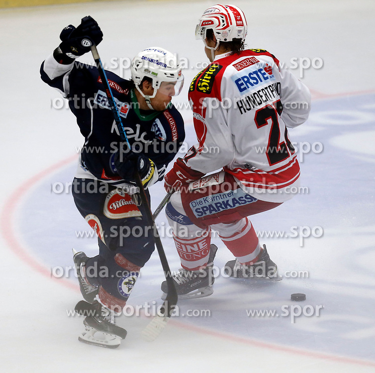 11.10.2015, Stadthalle, Villach, AUT, EBEL, EC VSV vs EC KAC, 10. Runde, im Bild Brock McBride (VSV) und Thomas Hundertpfund (KAC) // during the Erste Bank Icehockey League 10th round match between EC VSV vs EC KAC at the City Hall in Villach, Austria on 2015/10/11, EXPA Pictures © 2015, PhotoCredit: EXPA/ Oskar Hoeher