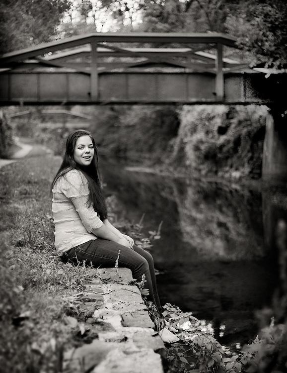 Teen girl's senior portrait along the canal in New Hope, Pennsylvania