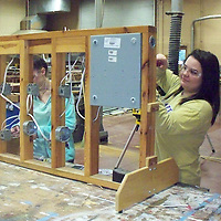 Residential Carpentry Alecia Sandlin, left, and Tyanna Andrews. James Stark is the teacher.
