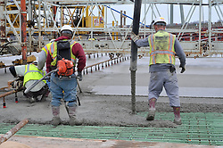 Deck Pour. Pearl Harbor Memorial Bridge, New Haven Harbor Crossing Corridor. CT DOT Contract B1 Project No. 92-618 Progress Photography. Northbound West Approaches. Eighth on site photo capture of once every four month chronological documentation.