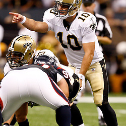 August 21, 2010; New Orleans, LA, USA; New Orleans Saints quarterback Chase Daniel (10) under center against the Houston Texans during the second quarter of a preseason game at the Louisiana Superdome. Mandatory Credit: Derick E. Hingle