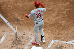 May 6, 2018 - Washington, DC, U.S. - WASHINGTON, DC - MAY 06:  Philadelphia Phillies center fielder Pedro Florimon (18) drops his bat after striking out during the game between the Philadelphia Phillies  and the Washington Nationals on May 6, 2018, at Nationals Park, in Washington D.C.  The Washington Nationals defeated the Philadelphia Phillies, 5-4.  (Photo by Mark Goldman/Icon Sportswire) (Credit Image: © Mark Goldman/Icon SMI via ZUMA Press)