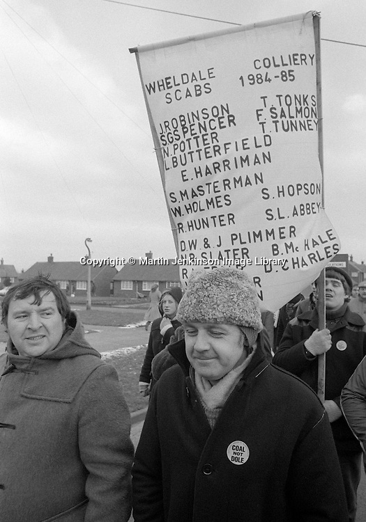 Wheldale Colliery scabs names on banner, Fryston.