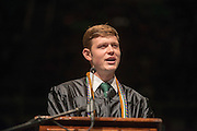 Student Senate President Zach George speaks at Undergraduate Commencement on Saturday,May 4, 2013. Photo by Ben Siegel