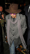 28.NOVEMBER.2007. LONDON<br /> <br /> ACTOR JOHNNY DEPP LEAVING CIPRIANI'S RESTAURANT, MAYFAIR AT 12.15AM WEARING PURPLE GLASSES AND WEARING VERY DIRTY AND TATTY LOOKING BOOTS AFTER HAVING DINNER WITH A VERY PREGNANT HELEN BOHNAM CARTER AND HUSBAND DIRECTOR TIM BURTON.<br /> <br /> BYLINE: EDBIMAGEARCHIVE.CO.UK<br /> <br /> *THIS IMAGE IS STRICTLY FOR UK NEWSPAPERS AND MAGAZINES ONLY*<br /> *FOR WORLD WIDE SALES AND WEB USE PLEASE CONTACT EDBIMAGEARCHIVE - 0208 954 5968*