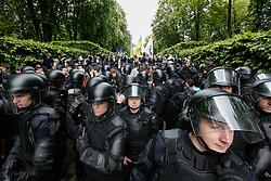 May 9, 2017 - Kiev, Ukraine - Police block ultra-right nationalists. Ukraine commemorates the 72nd anniversary of the victory in the war of Soviet Union over the Nazis Germany, Kyiv, Ukraine. (Credit Image: © Sergii Kharchenko/NurPhoto via ZUMA Press)