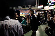 Supporters of The Tokyo swallows celebrate a score by the team at the Jingu Baseball Stadium in Tokyo during a game Tokyo Swallows VS Hiroshima Carp, Japan. 21/04/2017-Tokyo, JAPAN