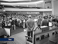 Chapel services were conducted during the opening week of classes in 1975 in the main sanctuary of the original Thomas Road Baptist Church.