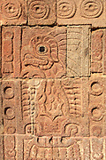 MEXICO, PRE-HISPANIC, TEOTIHUACAN 100BC-700AD, relief of a stylized bird on a column in the courtyard of the Palace of the Quetzal Butterfly