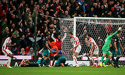 Southampton players look dejected as Peter Crouch of Stoke City celebrates after scoring his sides second goal  - Mandatory by-line: Matt McNulty/JMP - 30/09/2017 - FOOTBALL - Bet365 Stadium - Stoke-on-Trent, England - Stoke City v Southampton - Premier League