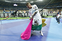 Sergio Ramos of Real Madrid act like a bullfighter, torero during the UEFA Champions League final between Real Madrid and Liverpool on May 26, 2018 at NSC Olimpiyskiy Stadium in Kyiv, Ukraine