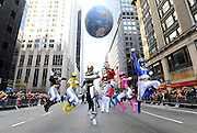 Saban's Power Rangers Megaforce celebrate the franchise's 20th anniversary while marching in the Macy's Thanksgiving Day Parade, Thursday, Nov. 22, 2012, in New York.  (Photo by Diane Bondareff/Invision for Saban Brands/AP Images)