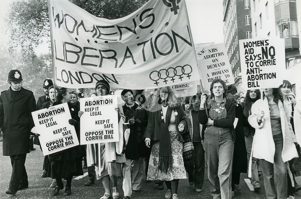 Women take over the head of the TUC march against Corrie's Anti- abortion Bill; London; November 1979