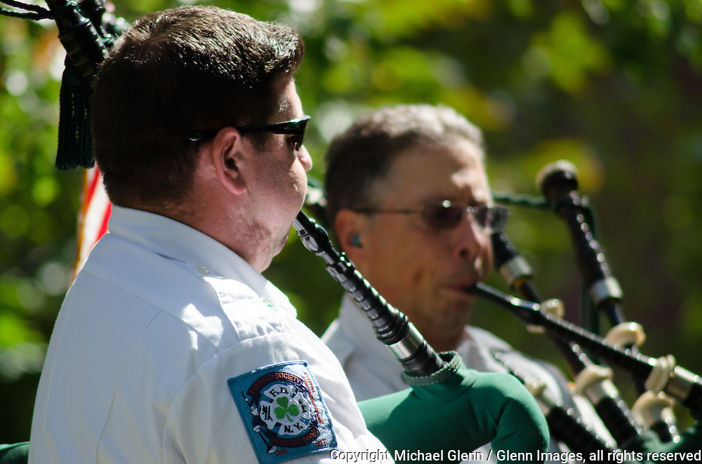 19 Sep 2015 Staten Island, New York US //  FDNY Emerald Society Bagpipes get in a quick tuning in for the 8th annual Lt. John Martinson Memorial Picnic at the Hillside Swim Club //  Michael Glenn  /   for the FDNY