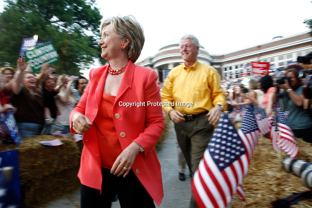 Democratic Presidential candidate and U.S. Senator Hillary Rodham Clinton (D-NY) greets supporters before a rally with her husband and former President Bill Clinton at the Iowa State Fairgrounds in Des Moines, Iowa, July 2, 2007.